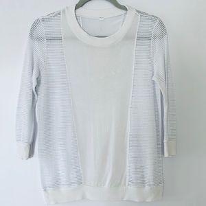 Alo Yoga 3/4 Sleeve White Perforated Mesh Top